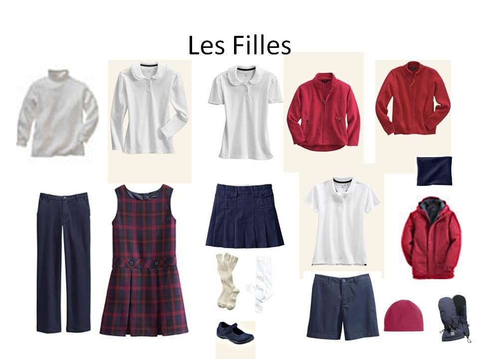Pour les filles : une jupe (pantalon parfois), un pull ou gilet, une ...