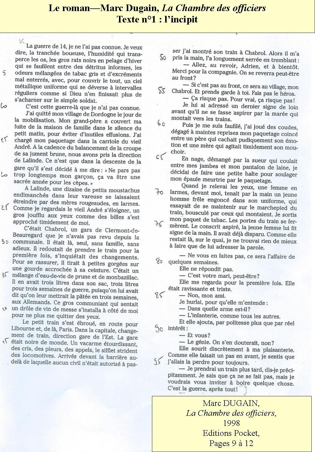 Fran ais sti stmg du lyc e queneau yvetot - Analyse la chambre des officiers marc dugain ...